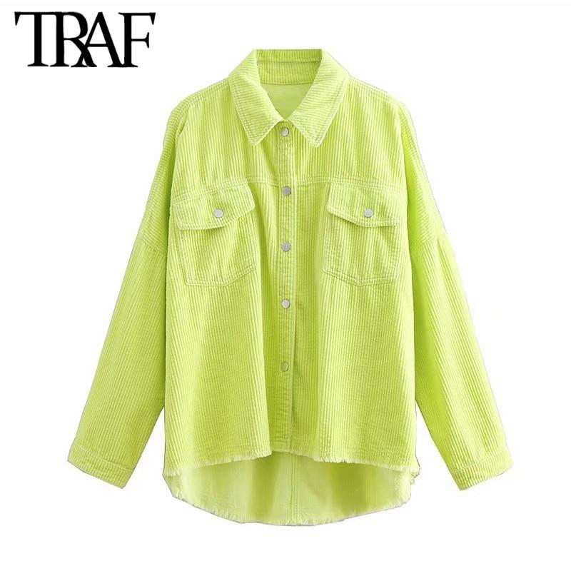 TRAF Women Tops Vintage Stylish Pockets Corduroy Blouses Long Sleeve Lapel Collar Irregular Fashion Shirts Blusas Mujer