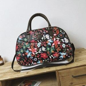 Image 3 - Bolso de viaje de cuero para mujer, bolsa de lona con diseño Floral, portátil, a la moda, impermeable, para fin de semana, XA790WB