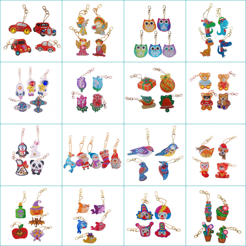 Dangdang New Product Animal Flower Cartoon Pattern 5D Diamond Painting Keychain Keyring DIY Mosaic Pendant Jewelry Gift
