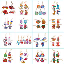 Dangdang New Product Animal Flower Cartoon Pattern 5D Diamond Painting Keychain Keyring DIY Mosaic Pendant Jewelry Gift