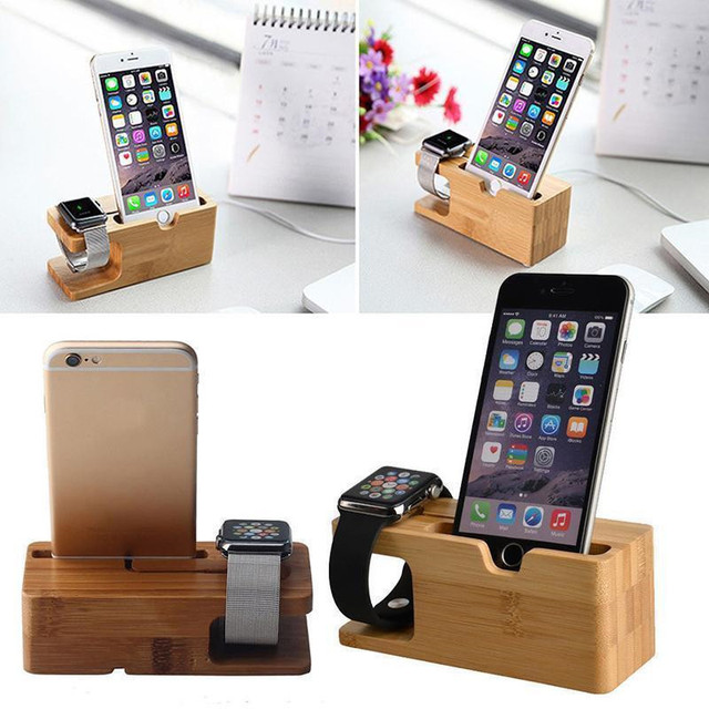 Bamboo Base Storage Holder For Apple Watch iWatch iPhone Smart Device Charging Dock Stand Station Bamboo Charger Holder