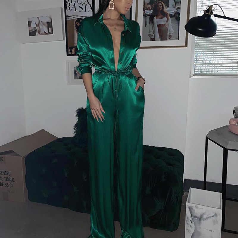 Mono de fiesta de noche suelto elegante para mujer 2019 Sexy solapa sólida cuello en V profundo vendaje de satén para damas ropa de calle de talla grande