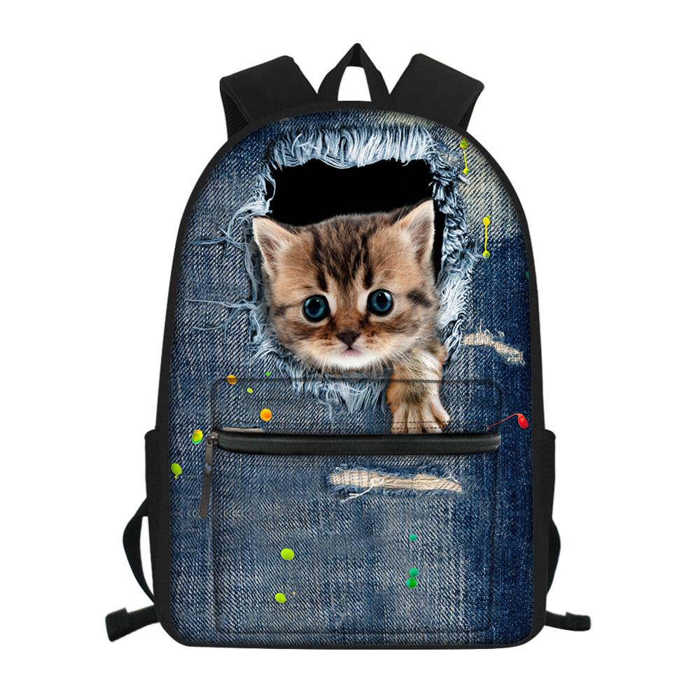 Backpack with cat print