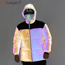 2021 Winter New Rainbow Reflective Jacket Men Patchwork Yellow Thick Hooded Coat Plus Size Loose Rap Snow Parka Drop Shipping