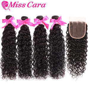 Прозрачные кружевные фронтальные с пряди, перуанские Волнистые пряди с фронтальной 100% Miss Cara Remy человеческие волосы с закрытием