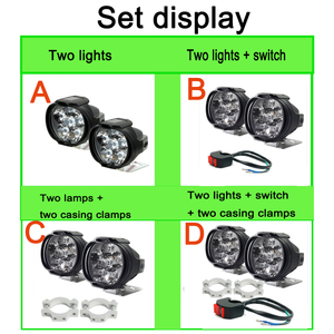Image 5 - 2x Motorcycles Headlight 6500k White 6 LED Working Spot Light Motorbike Bicycles Scooters Spotlights Modified Auxiliary Fog Lamp