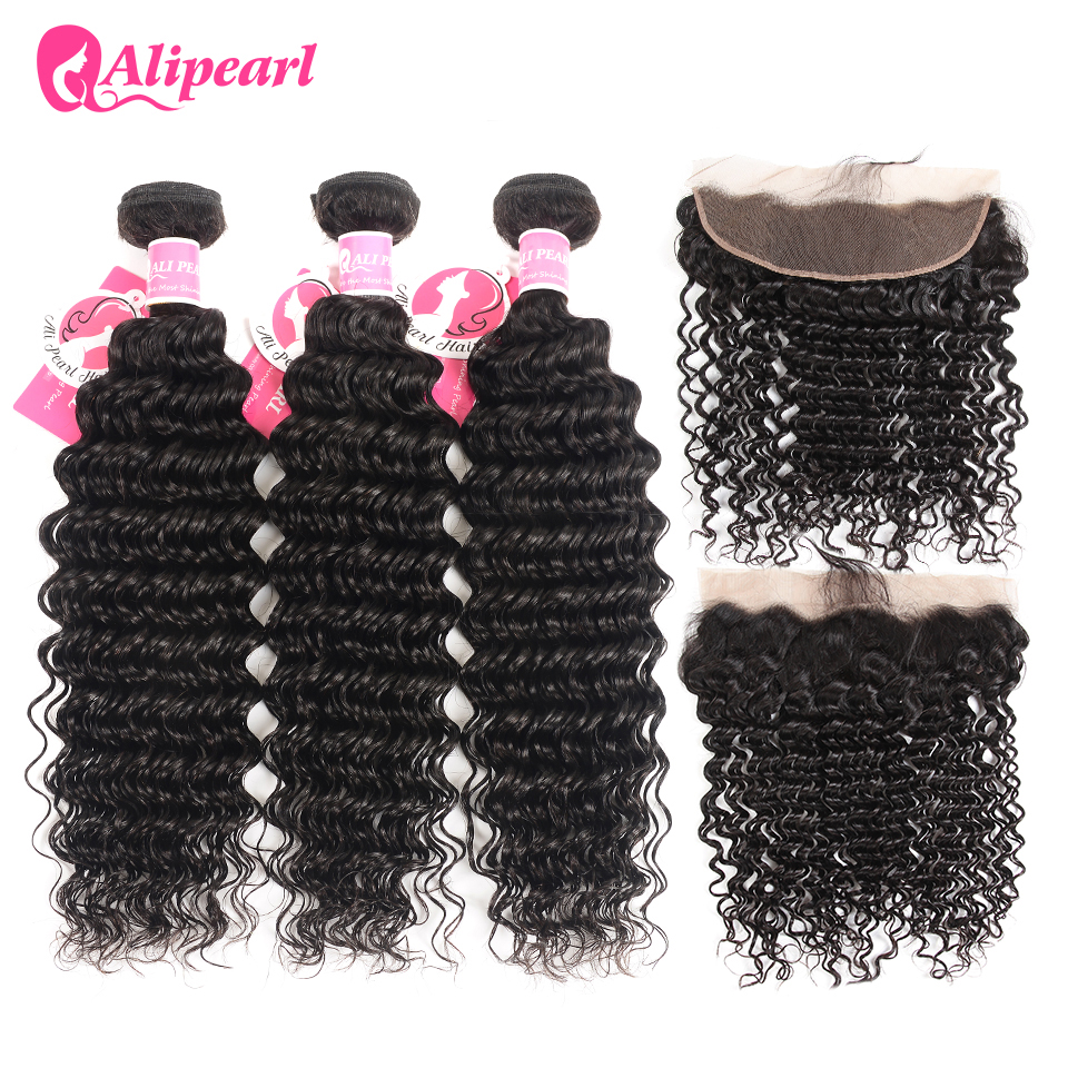 US $85.09 25% OFF|AliPearl Hair 3 Bundles Brazilian Deep Wave 100% Human Hair Bundles With Frontal Natural Black Remy Hair Extension Free Shipping in
