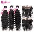 AliPearl 3 пряди волос бразильские волнистые 100% человеческие волосы пучки с фронтальным натуральным черным Remy Наращивание волос Бесплатная дос...