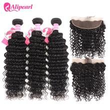 Mèches Deep Wave brésiliennes 100% naturelles – AliPearl, cheveux Remy, noir naturel, Extension de cheveux, avec Frontal, lot de 3, livraison gratuite