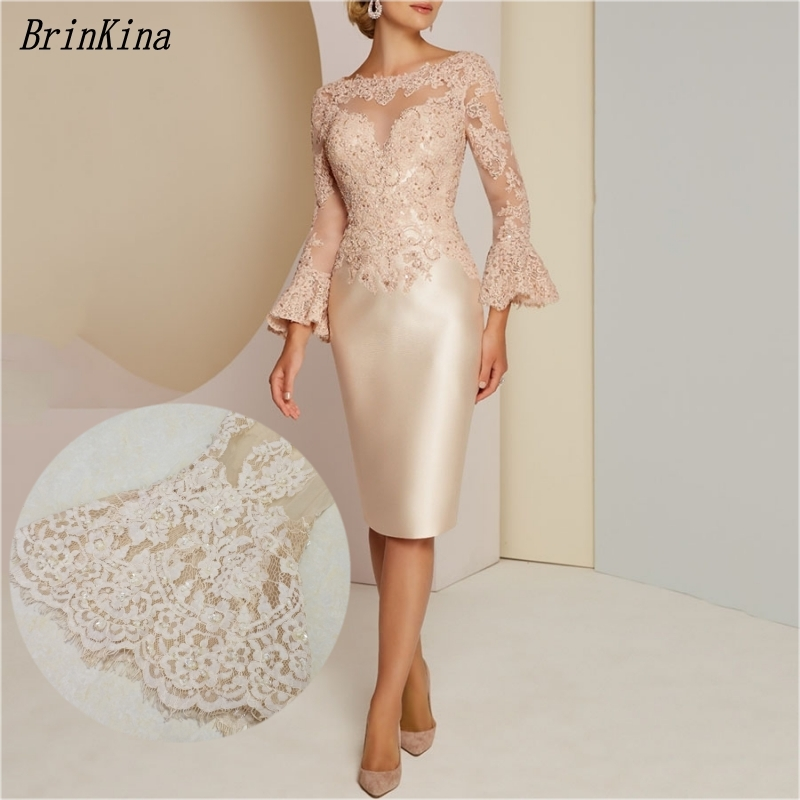 BrinKina Wedding Party Dress Knee Length Champagne Lace Mother Of The Bride Dress Flared Long Sleeves 2019 Vestidos De Festa