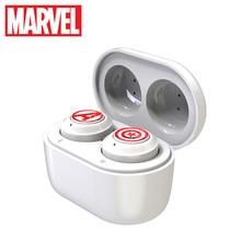 Marvelได้รับการรับรองกัปตันอเมริกาTWSหูฟังสเตอริโอไร้สายบลูทูธV5.0 หูฟังสนับสนุนสำหรับเชื่อมต่อโทรศัพท์มือถือสอง