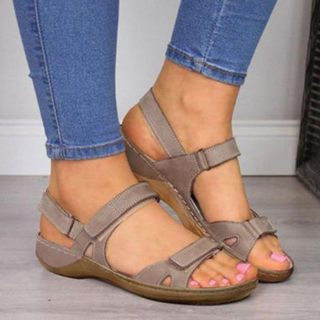 2020 New Women Sandals Soft Three Color Stitching Ladies Sandals Comfortable Flat Sandals Open Toe Beach Shoes Woman Footwear 2
