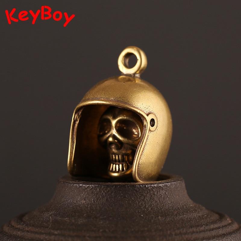 Brass Biker Helmet Keychain