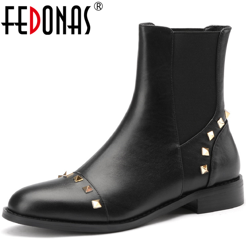 FEDONAS Concise Elastic Band Genuine Leather Women Winter Boots Metal Rivets Thick Heels Shoes Woman Party Office Women's Boots