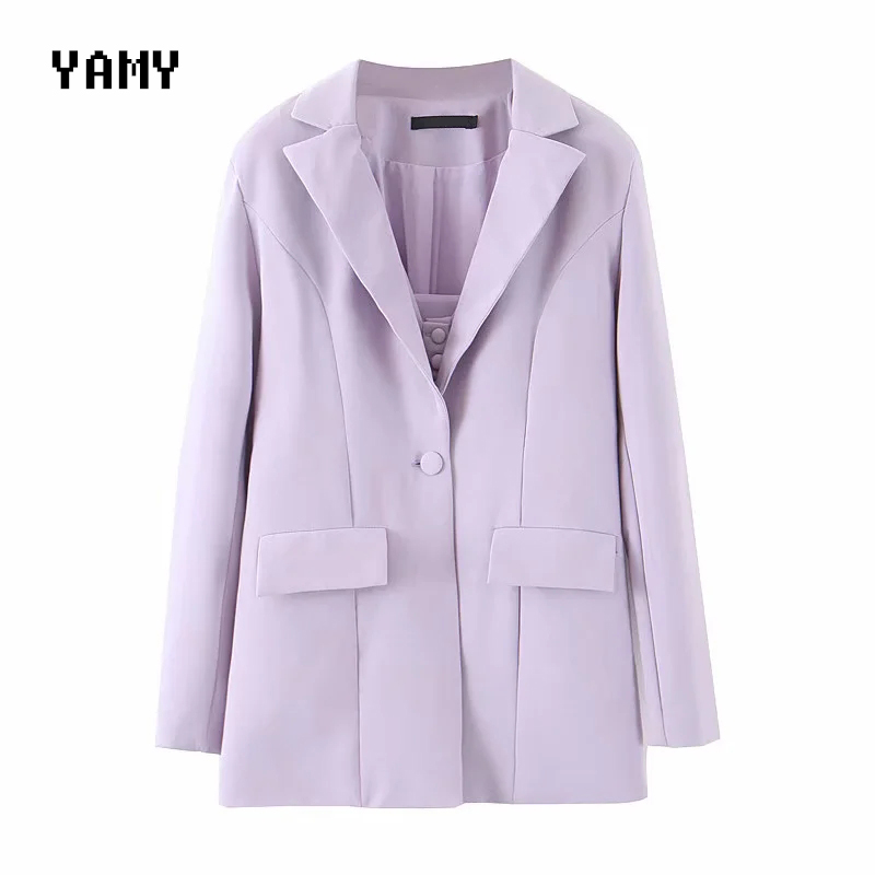 Summer Color Lilac Womens Blazer Jacket With Pockets Long Sleeve Stylish Purple Outerwear Korean Solid Chic INS Casual OL Blazer