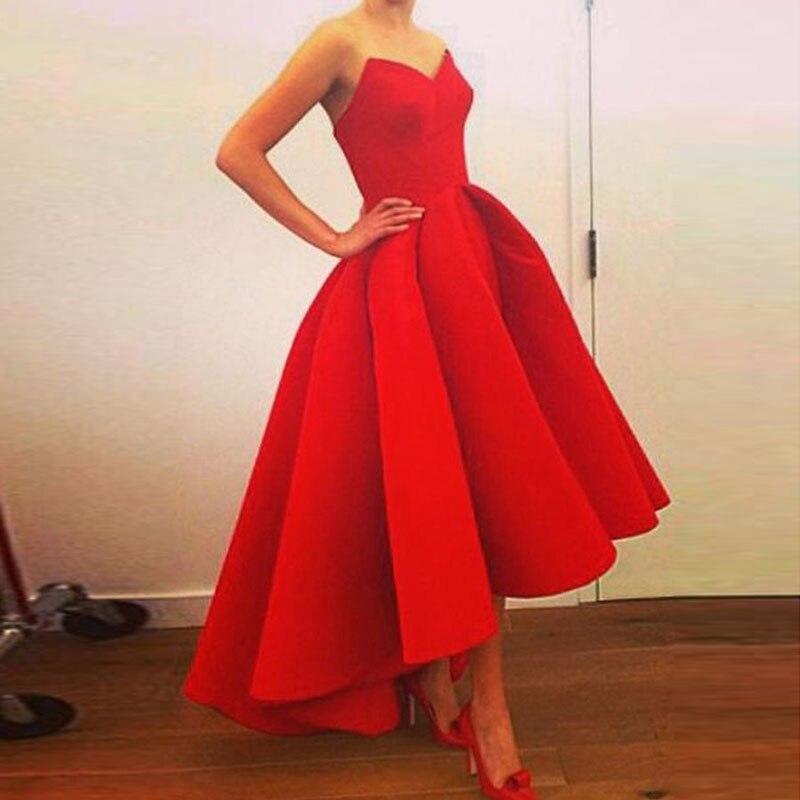 Robe Femme V-neck Short Dress Evening Dress Satin Robe De Soiree Longue Formal Dress Abiye Gece Elbisesi Red High-low Lace-up