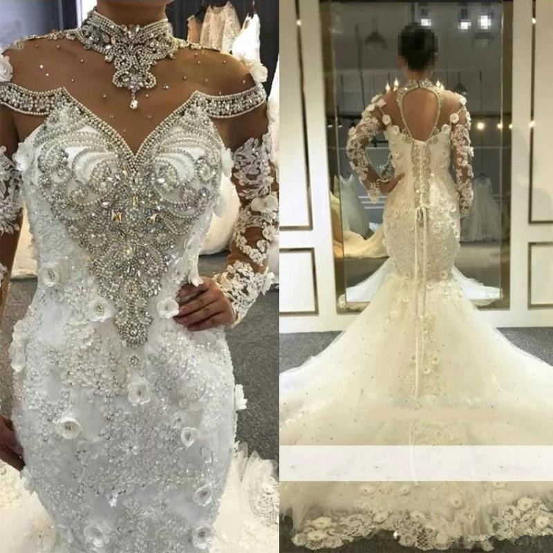 Luxury Gorgeous Beading Crystal Long Wedding Dresses 2020 High Neck Long Sleeve 3D Lace Applique Plus Size Bridal Gowns