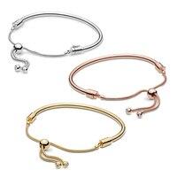 Fashion Women Bangle 925 Sterling Silver Shine Pans Sliding Bracelet Rose Gold Original DIY Charm Bead Jewelry Birthday Gift