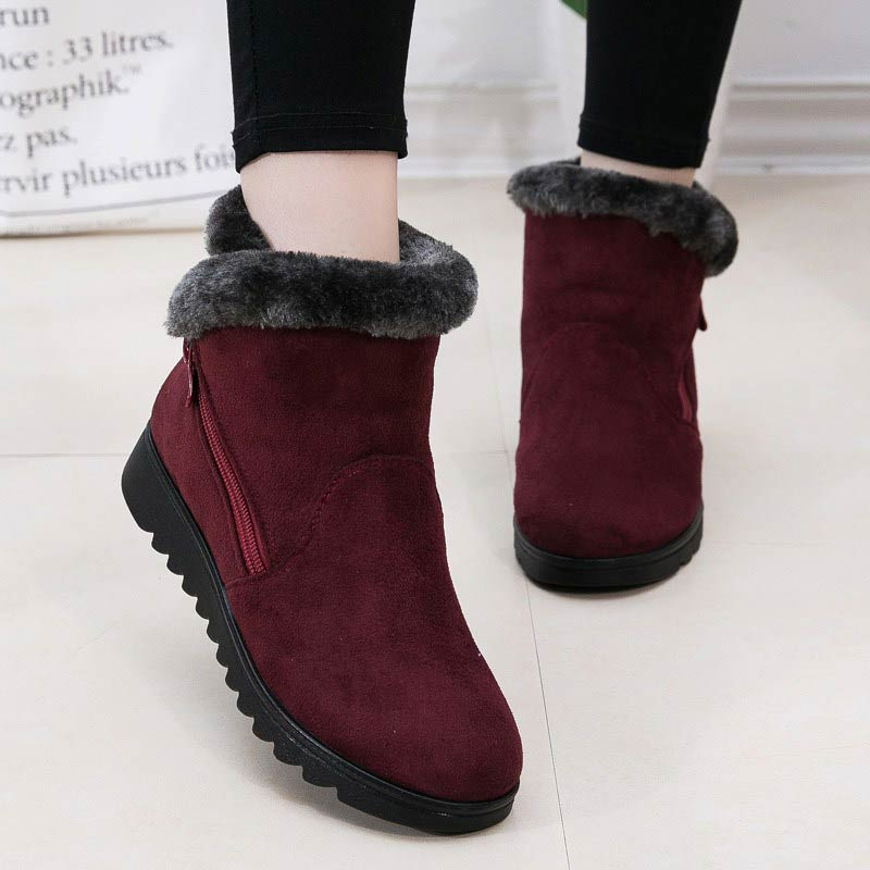 Dropshipping Casual shoes woman winter ankle boots women shoes 2021 new fashion non slip warm plush zipper women snow boots