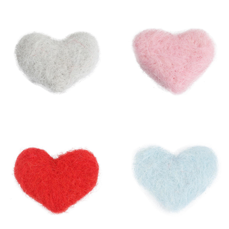 2PCs Heart Shape Wool Felt Poke DIY Kits Craft Sewing Supply Clothes Accessories Gift Bag Backpack Decoration