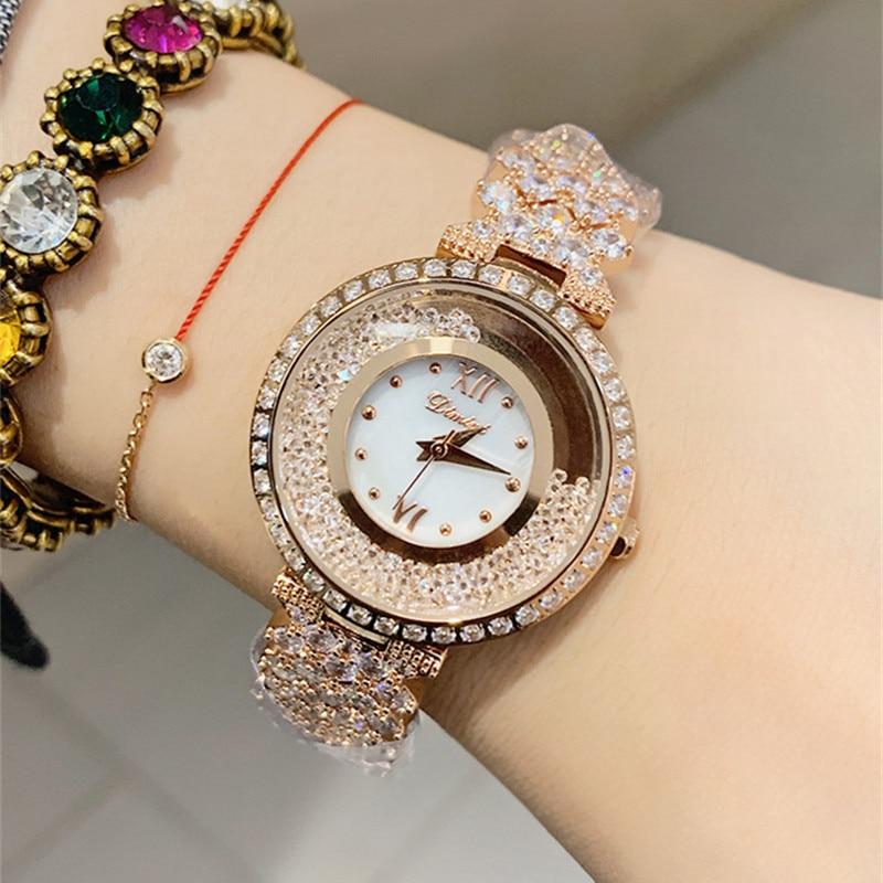 Nowe różane złote zegarki damskie biznesowe zegarki kwarcowe top damski luksusowy zegarek damski dziewczyna godziny zegarowe montre femme 2019