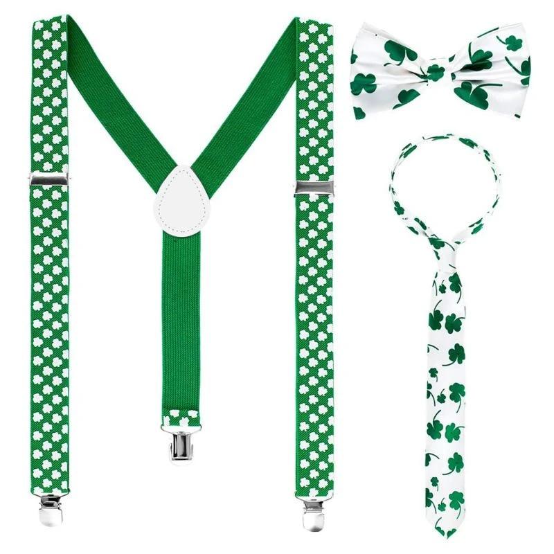 White /& Green Shamrock Bow Tie On Elastic St Patricks Day Irish Fancy Dress