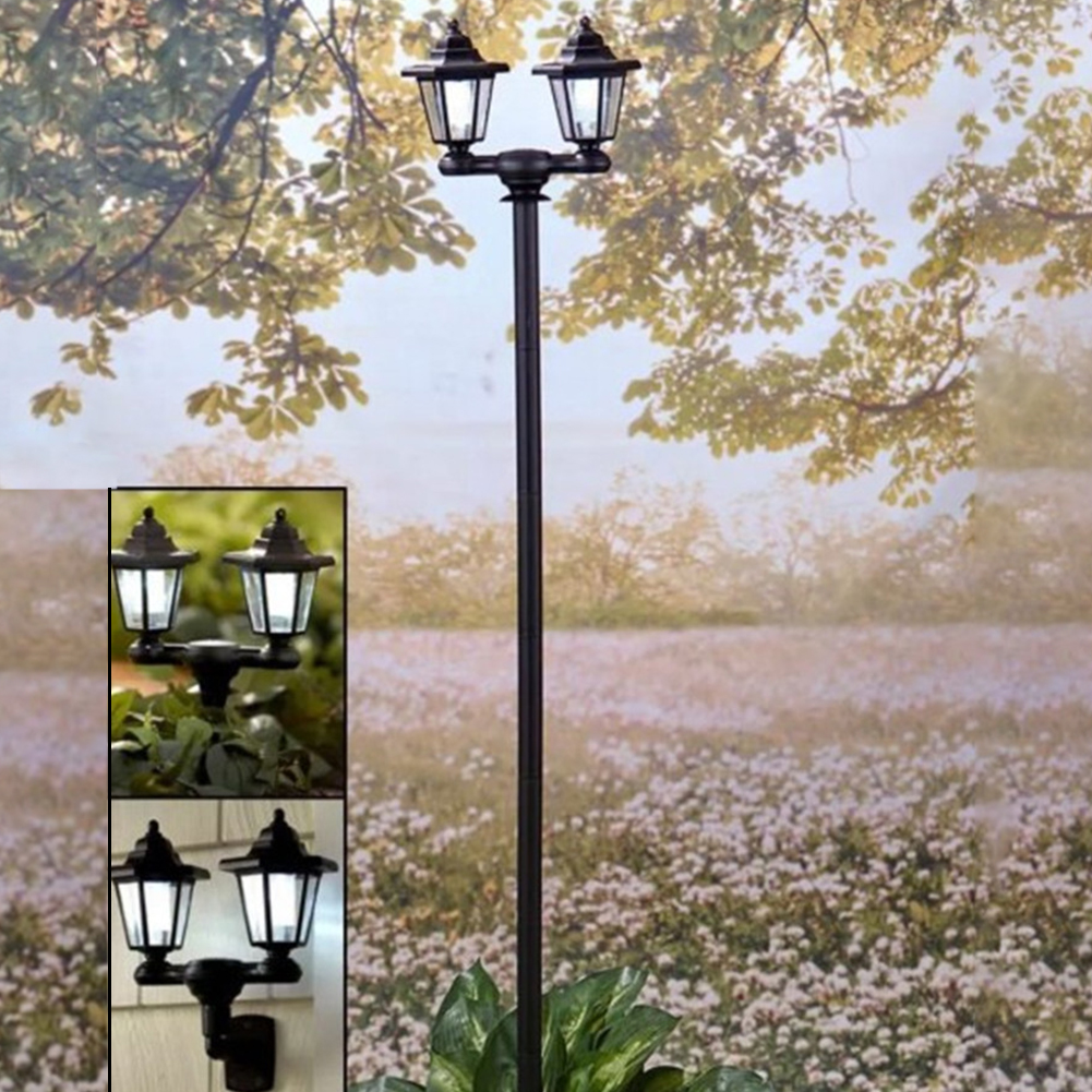 3-in-1 Dual Solar Lanterns Powered Outdoor Lights Lamp Pole Stake or Wall Mount