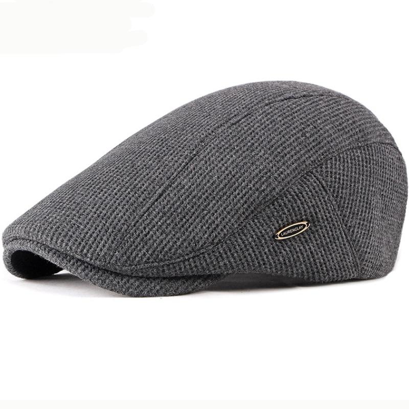 Ht2646 boné de boina unissex, de outono e inverno, ajustável, malha lisa boina com chapéu