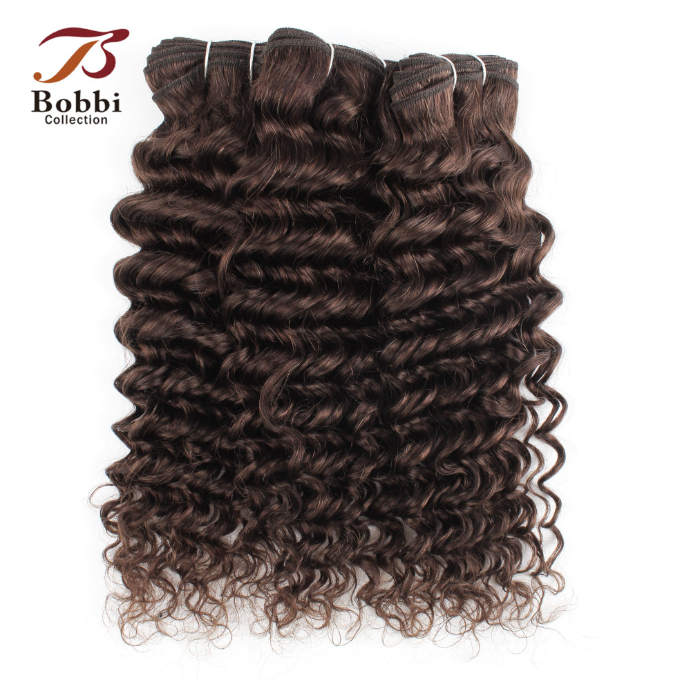 Deep Wave Human Hair Weave 2/3/4 Bundles Color 2 Darkest Brown 10-24 inch Good Quality Remy Hair Extensions BOBBI COLLECTION
