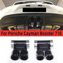 Dla Porsche Cayman Boxster 718 2016 2017 2018 2019 2020 czarny błyszczący chrom srebrny ze stali nierdzewnej stali nierdzewnej tylny wydech rury tłumik tanie tanio CN (pochodzenie) Upgrade China Stainless Please send us your photos