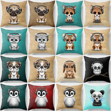Hot sale beauty cartoon  dog cat animal pillow case fashion cases cute monkey cover 45*45cm
