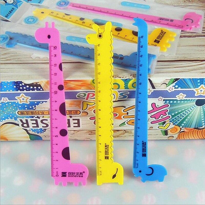 1pcs/lot Cute Cartoon 15cm Giraffe Ruler Party Gift For Children School Supplies Stationery Regla Escolar