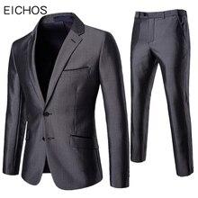 EICHOS,, Блейзер, брюки, костюм, набор, для мужчин, для официальных мероприятий, для офиса, приталенный, с отворотом, Лучший человек, 2 предмета, костюм для жениха, мужской свадебный костюм, смокинг