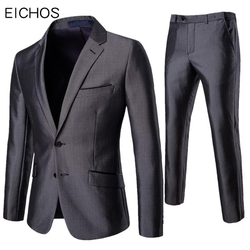 EICHOS 2019 Blazer Pants Suit Set Men Formal Offices Slim Fit Lapel Best Man Two Pieces Groom Suit Male Wedding Dress Tuxedo
