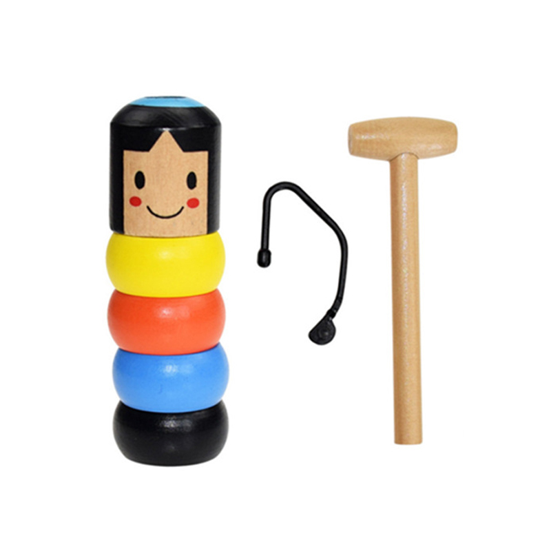 Novelty Magic Toys Funny Unbreakable Cartoon Doll Do Not Pour Out Toys Tumbler Obedient Wooden Decompression Toy Daruma Gift