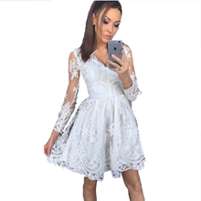 2019 Sexy V-neck Lace Long-sleeved Dress Long Sleeve Sexy Elegant Dresses Party Night Club Dress Fashion Women Clothing Vestidos sexy white lace summer dress women perspective long sleeve v neck beach party dresses elegant club midi dress hollow vestidos hl