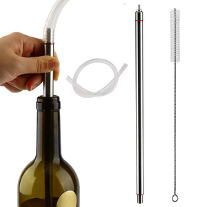 13.7'' (35cm) Length Spring Load Stainless Steel Beer Bottle Filler With Nylon Cleaning Brush For Home Brewing Bottling