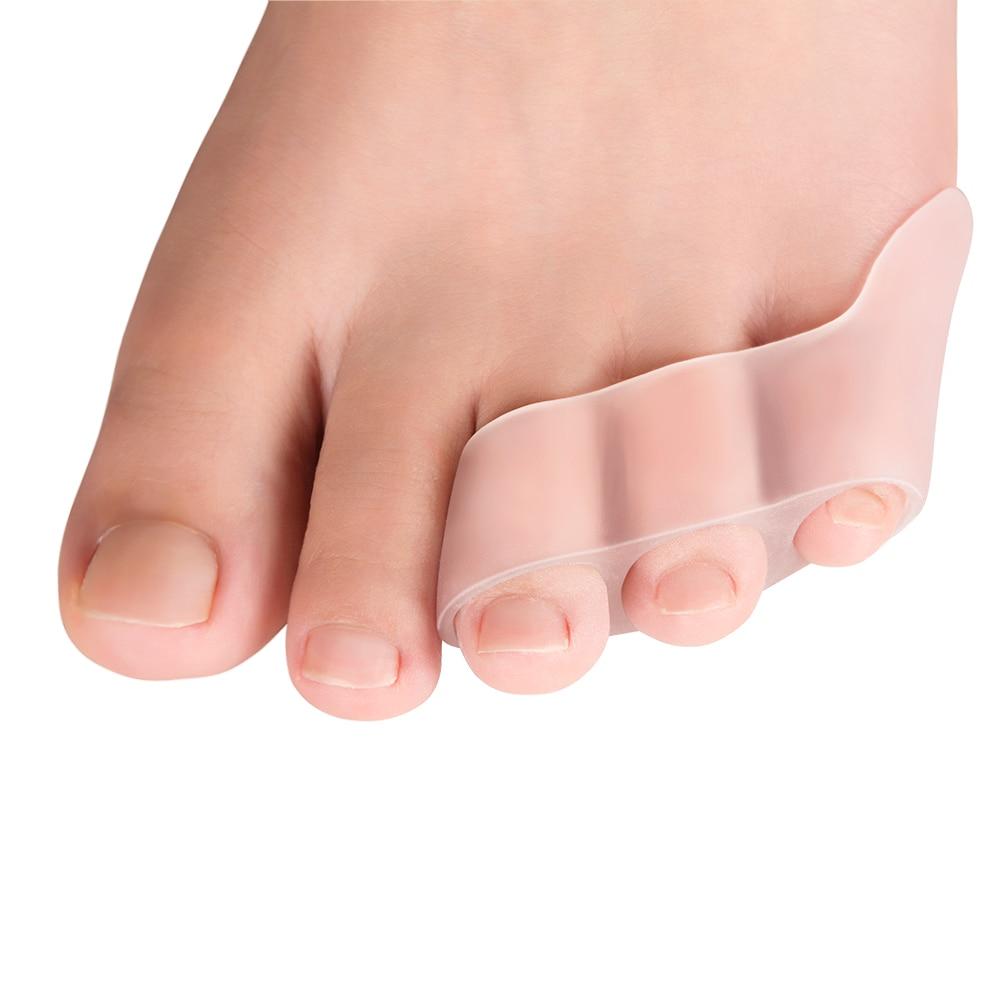 2pcs Three-hole Little Toe Separator Transparent Bunion Pain Relief Toe Straightener Protector Foot Care Tool C1603