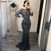 Serene Hill Black Long Sleeves Mermaid Evening Dress 2020 Sparkling Crystal Beadings Sexy Formal Party Gown CLA6591