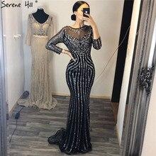 Serenhill robe de soirée noire, manches longues, style sirène, tenue de soirée de standing, perles de cristal scintillantes, Sexy, robe de fête de standing, CLA6591, 2020