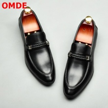 OMDE Genuine Leather Shoes Men Black Loafers High Quality Slip On Mens Dress Shoes Luxury Men's Formal Shoes Wedding Shoes цены онлайн