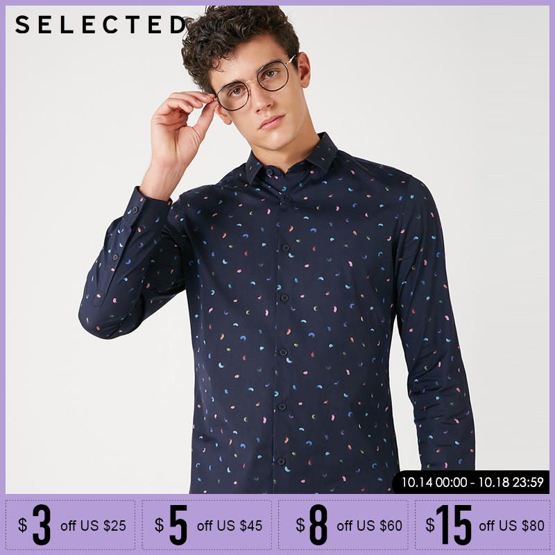 SELECTED Autumn Winter Printed Business Long Sleeve Shirt | 418405522