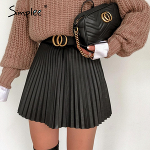 Simplee Fashion black autumn winter women faux short skirt A-line high street sexy mini skirt High waist pleated leather skirt