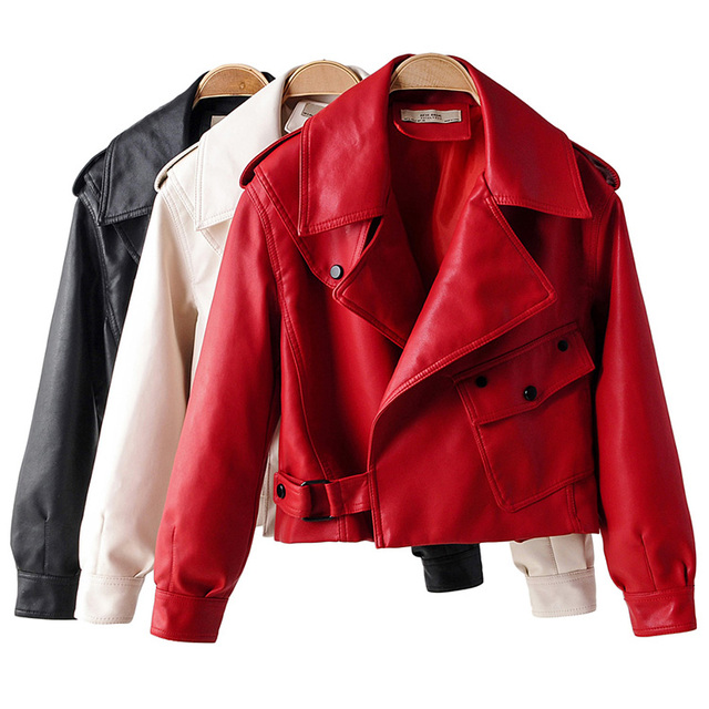 Loose lady red faux leather coat black faux leather jacket white biker motorcycle jacket women zipper punk autumn winter 2019