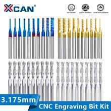 Xcan end mill gravura bits conjunto nano azul revestido cnc roteador bits de corte fresa 1/8