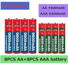 2021 nowy 1.5V AA 9800 mAh + 1.5V AAA 8800 mAh Alkaline1.5V akumulator do zegara zabawki bateria aparatu