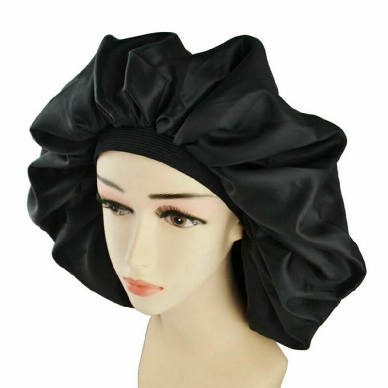 Black Wide Band Bonnet Hair Cap Night Jumbo Sleep Cap Waterproof Shower Hat Women Treatment Protect Hair From Frizzing