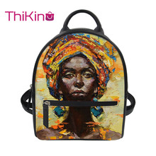 Thikin African Black Girl Painting Backpack for Girls Lady Mochila Mini  Leather Schoolbag Student Preppy Style Bag Girl Satchel lace up velvet teddy