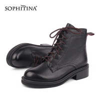 SOPHITINA New Martin Boots Winter Solid High Quality Genuine Leather Warm Comfortable Square Heel Shoes Women's Boots SC474