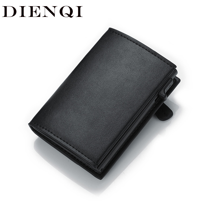 DIENQI Rfid Card Holder Wallet Genuine Leather Skin Metal Men Smart Minimalist Wallet 2020 Cardholder Spain Card Holder Sticker